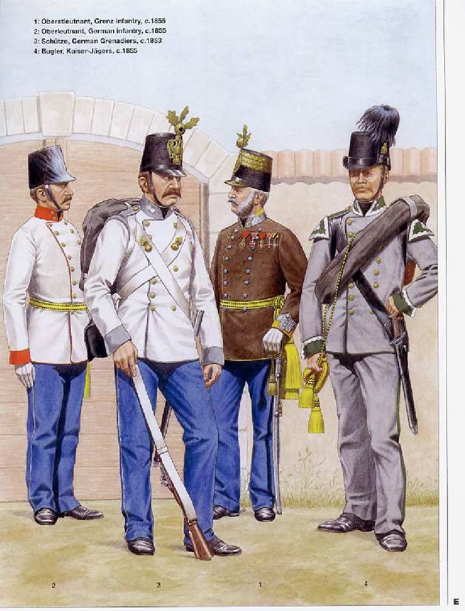 Infantry Uniforms Of The Austrian Empire 1836 1866 Italian Army
