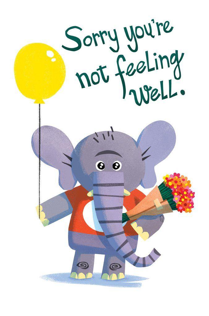 Get Well Card, Elephant Card, Feel better soon Card
