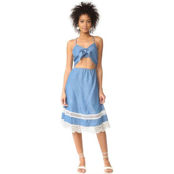 Lovers + Friends Saffron Dress (12,680 INR) ❤ liked on Polyvore featuring dresses, bone dress, blue cutout dress, blue dress, embroidered dress and blue embroidered dress