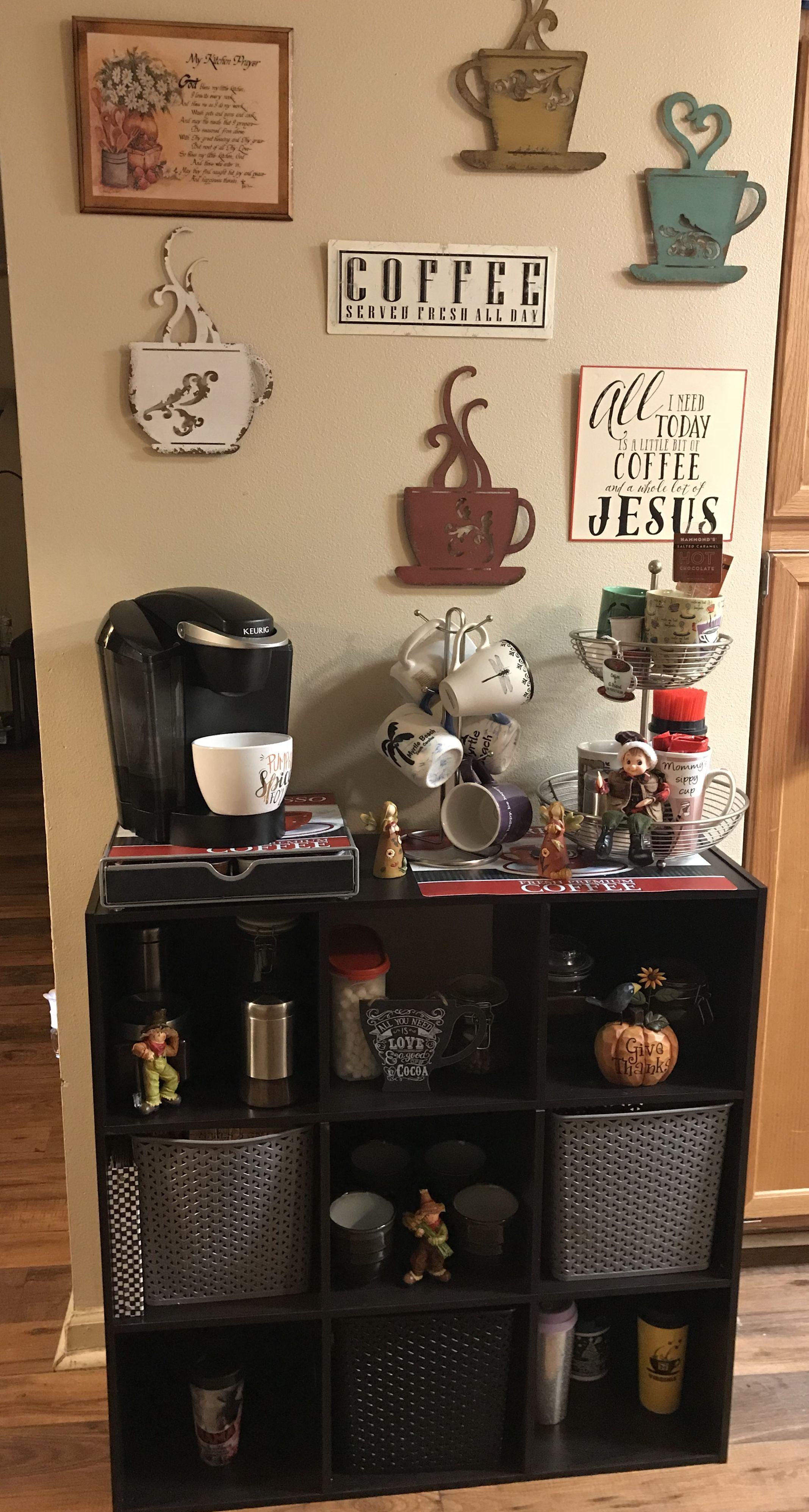 Coffee bar with 9 cube organizer cube organizer coffee