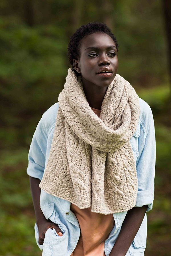 BrooklynTweed Afton wrap/scarf cables & lace (requires a tubular cast-on for best edging)