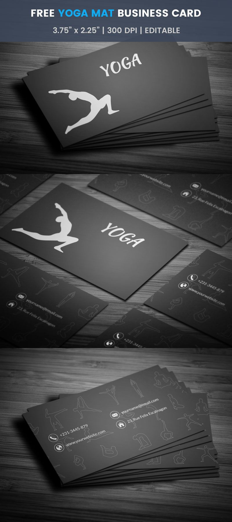 Free Yoga Mat Business Card | Business cards, Business and Card ...