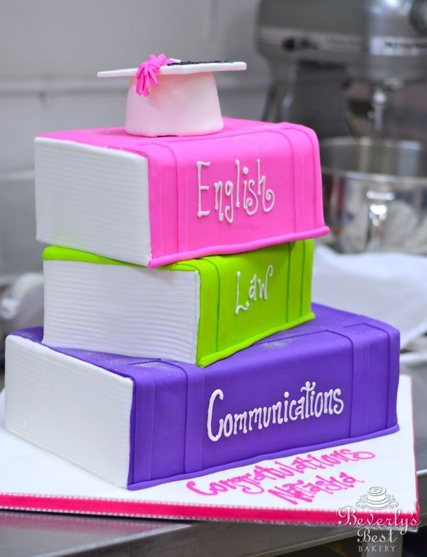 Sculpted Stacked Books Graduation Cake by Beverly's Best Bakery