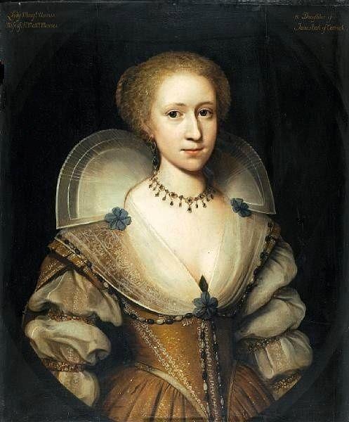 ca. 1620 Margaret Stuart, Lady Mennes, great-great granddaughter of Mary Boleyn attributed to Cornelius Janssens van Ceulen