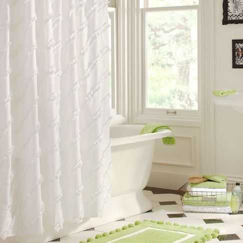 Love The Texture On This One Ruffle Shower Curtains White