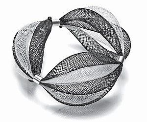 Nylon Mesh and Sterling Silver Bracelet by by artjewelryonline
