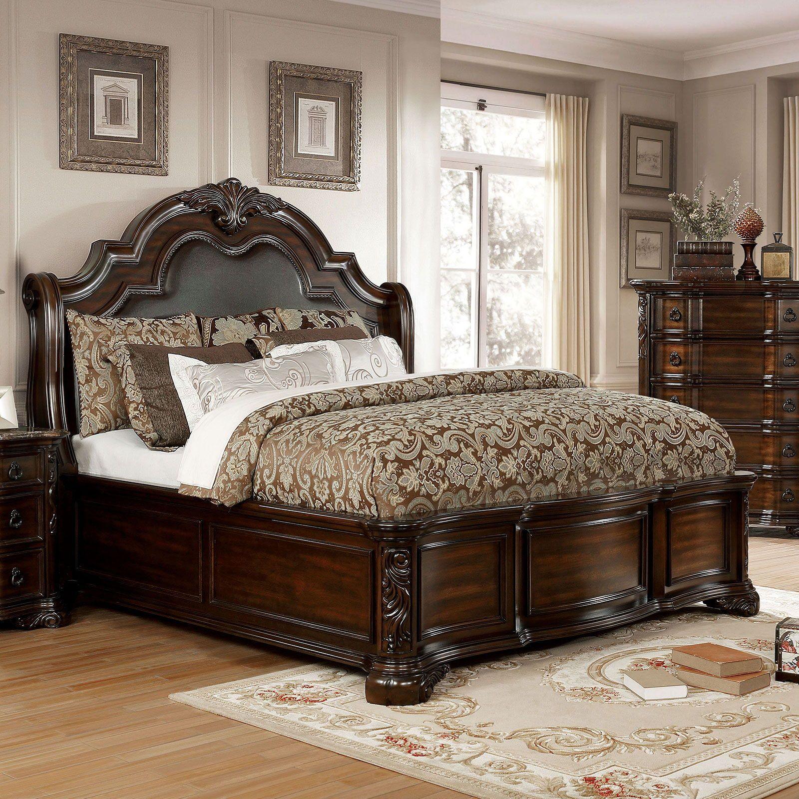 Niketas Cal King Bed Brown Cherrycalifornia King In 2021 Upholstered Sleigh Bed Bedroom Set Tufted Headboard Bed