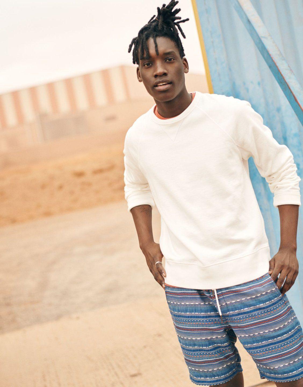 Indigo Jacquard Drawstring Shorts Drawstring Shorts Surf Wear Garment Dye [ 1440 x 1128 Pixel ]