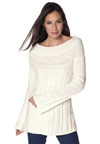 5340660c2ed Jessica London Womens Plus Size Cable Knit Tunic Ivory2628     Learn more  by visiting the image link.