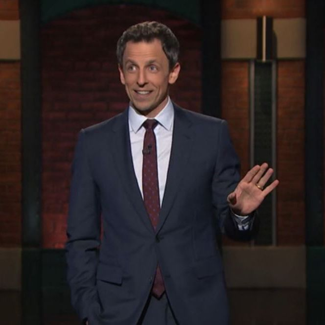 Late Night with Seth Meyers-midnight-blue-Suit-White shirt- maroon ...