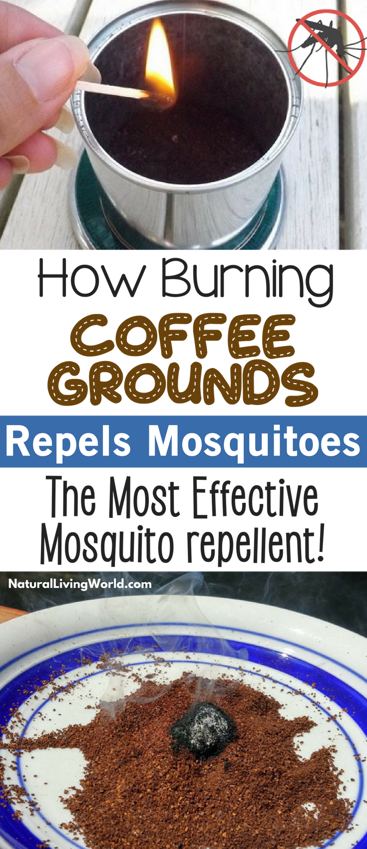 DIY Natural mosquito repellent. How to burn coffee grounds