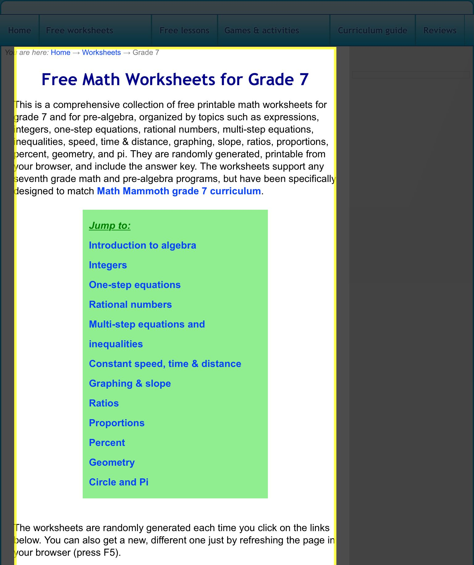 Free 7th Grade Math Worksheets | School ideas | Pinterest