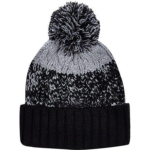 Black colour block beanie hat - hats - accessories - men