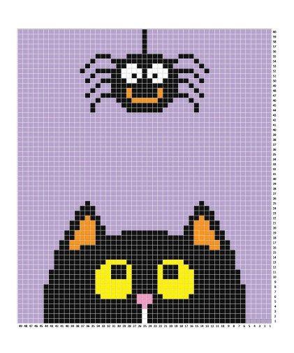 Crochet Halloween C2C Blanket | Punto de cruz, Puntos y Bordado