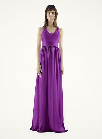 David's Bridal bridesmaid dresses in plum. They have over 100 styles in the color I want so you could pick any style you like. Everyone can pick a different style too, if you wanted. Good idea?