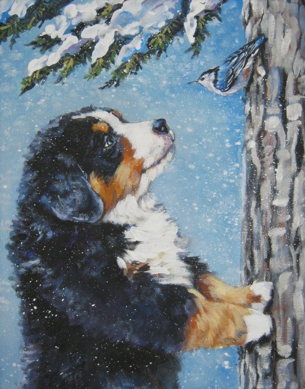 Bernese Mountain Dog Canvas Print Of Lashepard Painting Etsy Dog Print Art Dog Paintings Dog Drawing