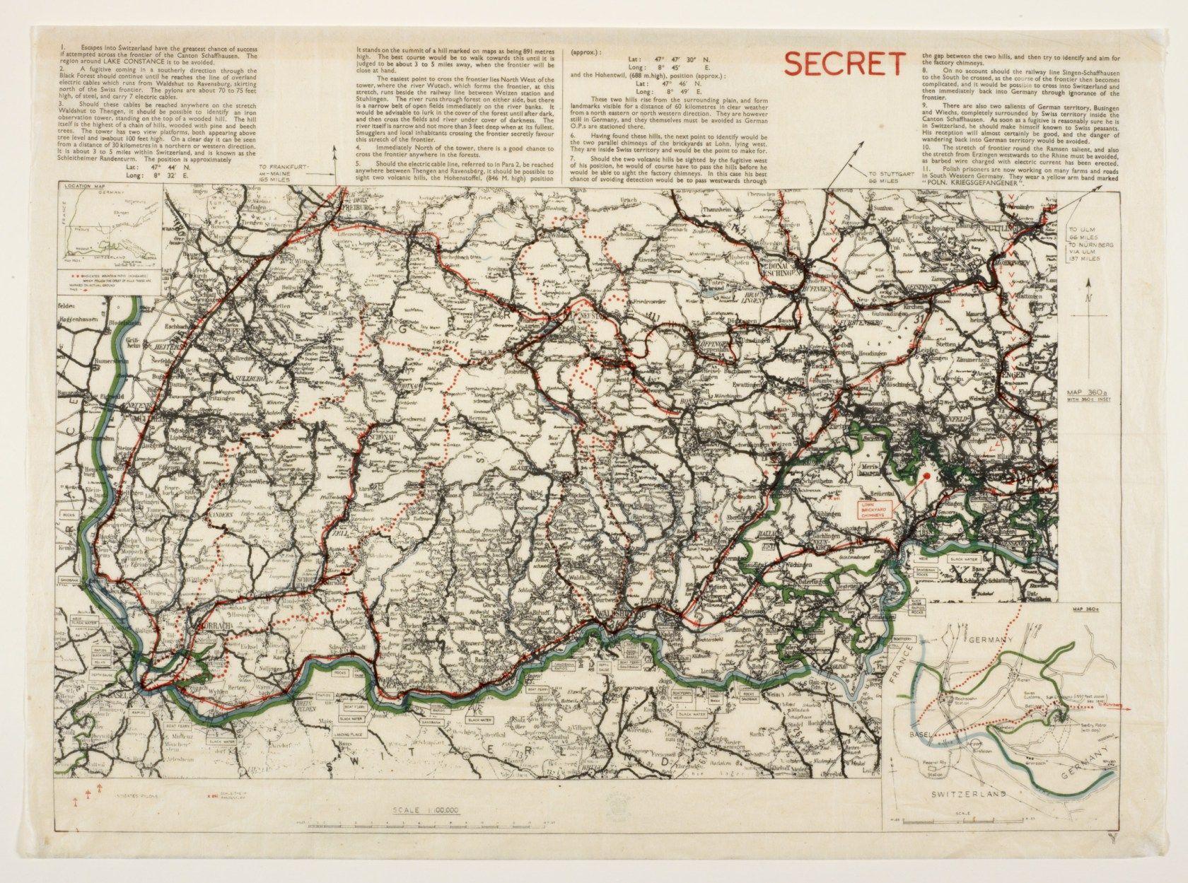 Schaffhausen Airey Neave escape map The War Office 1940 British