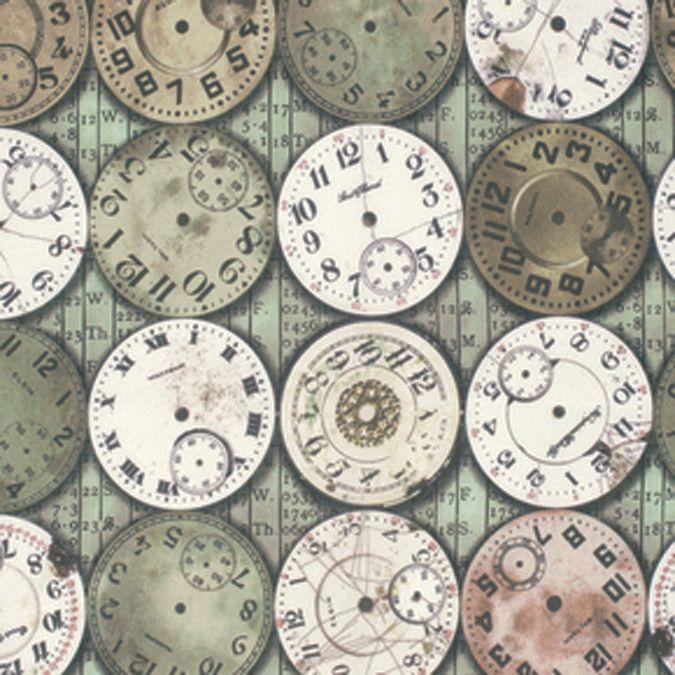 Tim Holtz Eclectic Elements Bridge Designs Timepieces Multi 45inX8yds