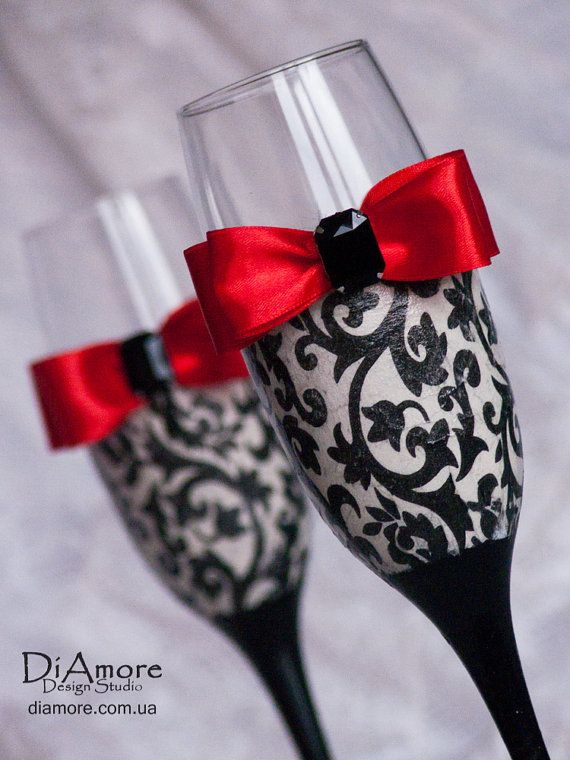 Personalized Wedding Glasses Damask Wedding Glasses Black And Red