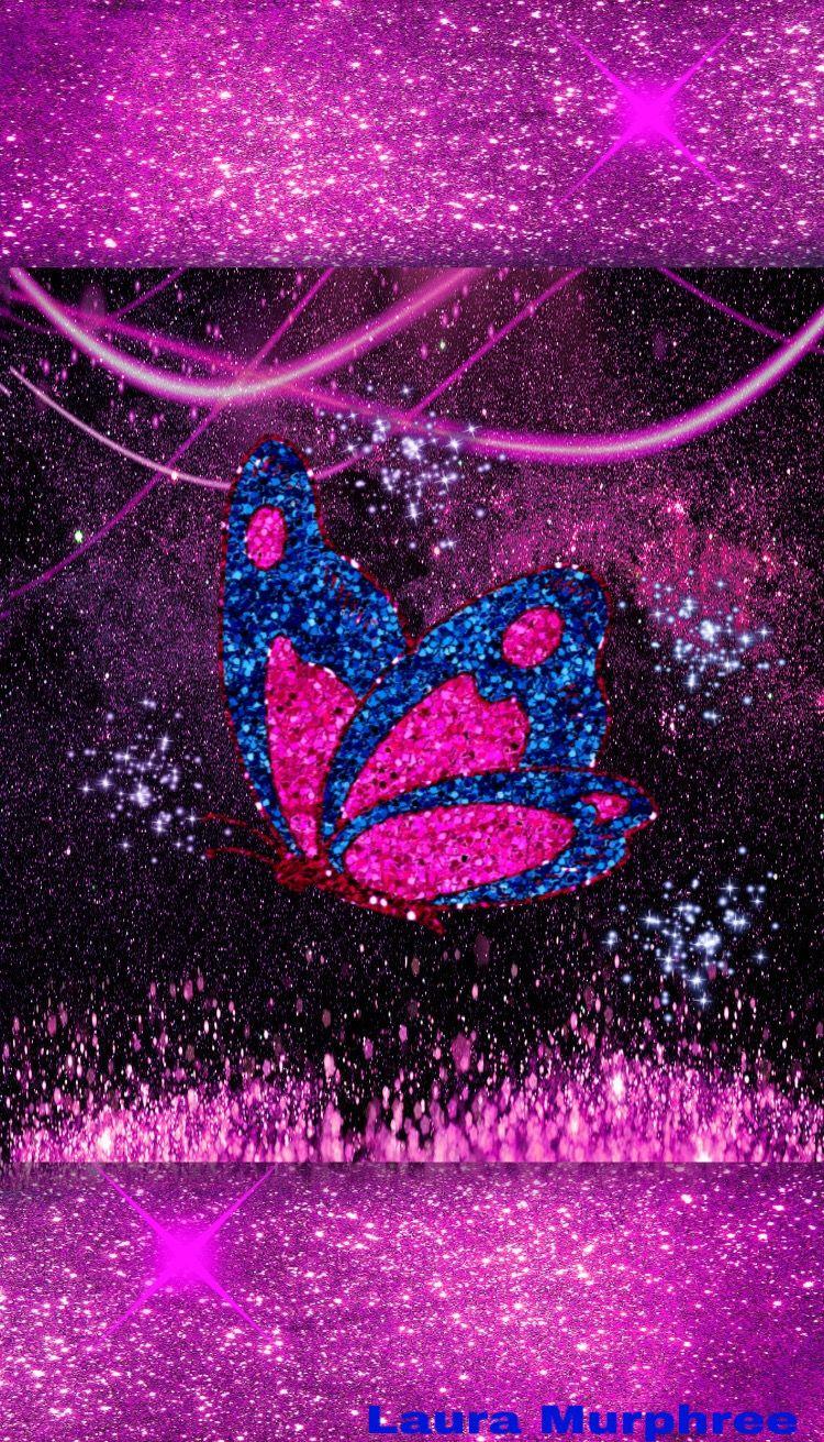 Glitter sparkle phone wallpaper butterfly pink blue ...