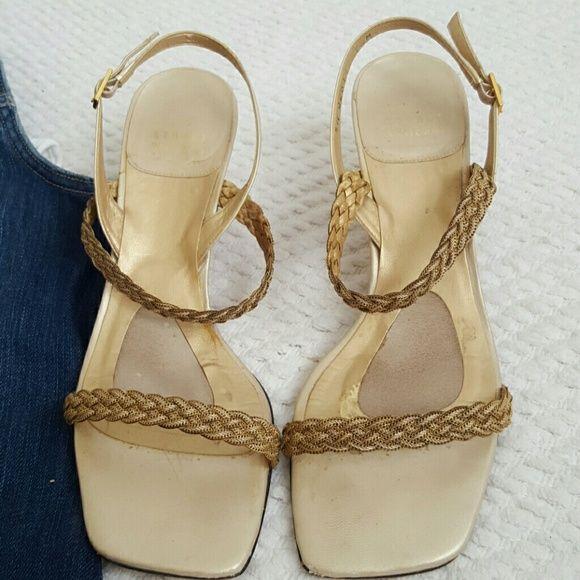 "Stuart Weitzman ""Siamese"" gold kitten heel sandal Golden kitten heel sling back sandals Stuart Weitzman Shoes"