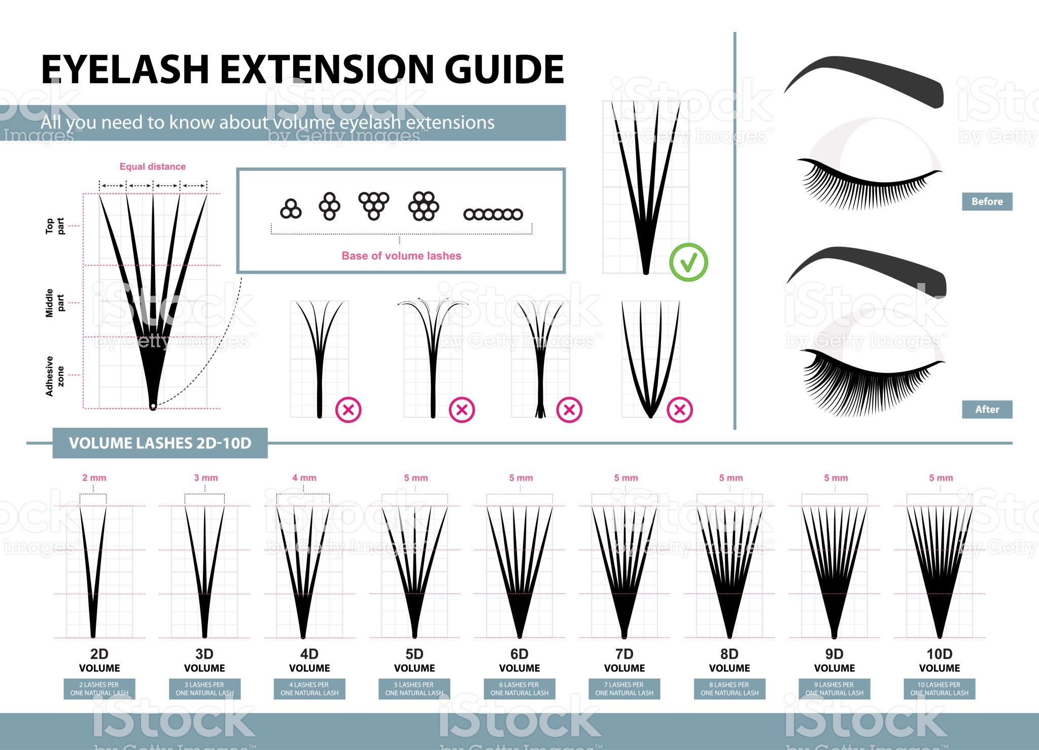 f4444fe26ea Template for Makeup and cosmetic procedures. Training poster royalty-free eyelash  extension guide volume eyelash extensions 2d 10d ...