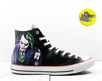 75452b3f5dc9 Joker Why so serious custom Converse All Star shoes high top painted DC  comics themed Chucks as played by Heath Ledger