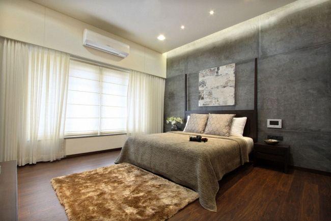 Indirekte Beleuchtung Schlafzimmer Wandplatten Betonoptik Holzboden