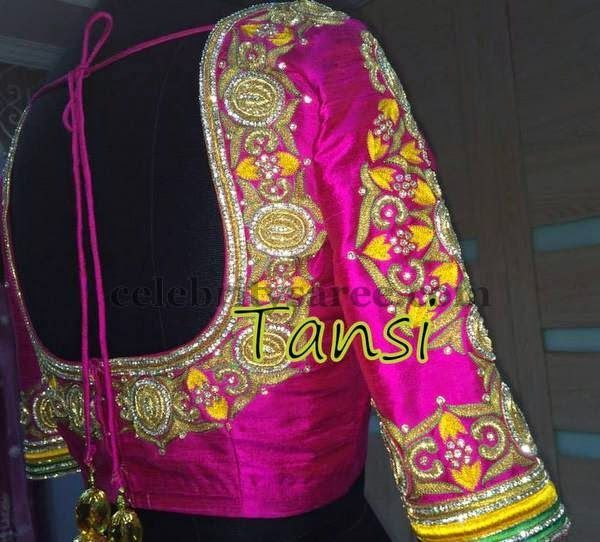 Pink Silk Thread Work Blouse | Saree Blouse Patterns | Heavy work ...