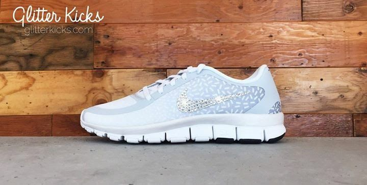 Women s Nike Free Print Running Shoes By Glitter Kicks - Customized With  Swarovski Crystal Rhinestones -White 6852ca6a9
