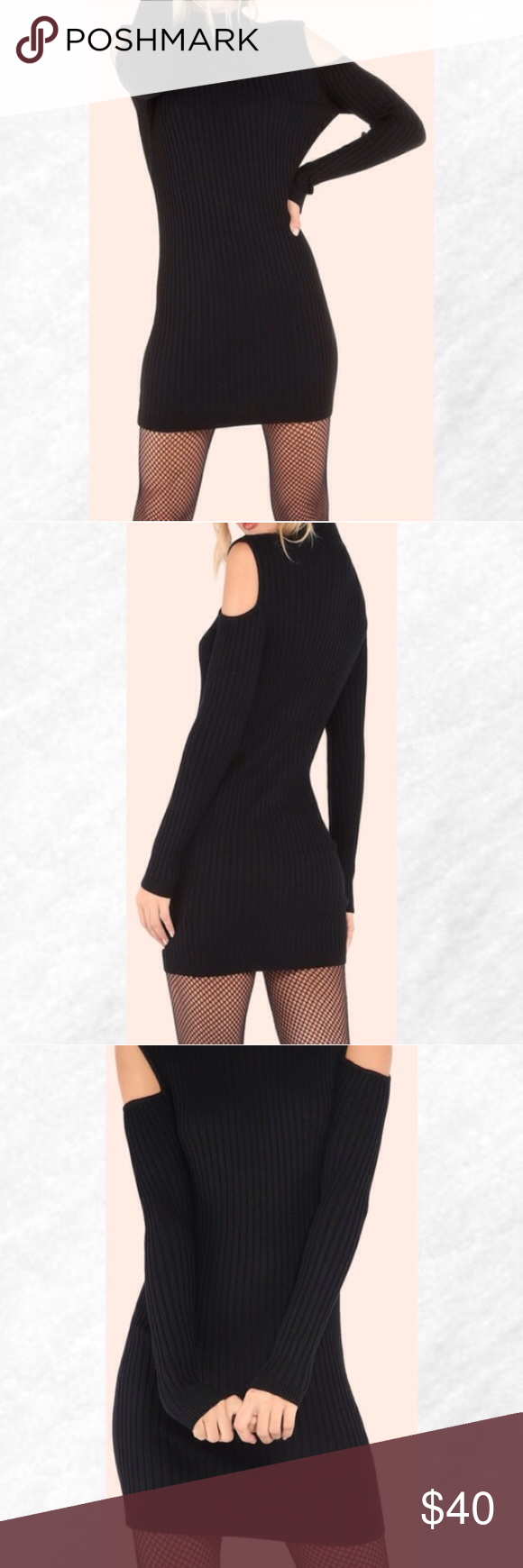"""Clearance! Black Cold Shoulder Ribbed Knit Dress This season also needs some dress lovin' and you can bring it with this dress! Featuring ribbed knit material, a mock neckline and a cold shoulder body. Dress measures 32"""" in. from top to bottom hem. Pair with leggings or skinny jeans and ankle boots. 60% Cotton 40% Acrylic. *Price Firm* Dresses Long Sleeve"""