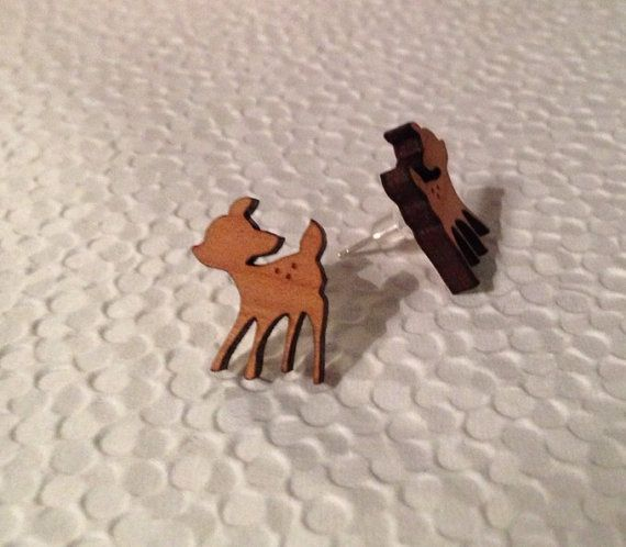 Cherry wood and sterling silver bambi earrings by SisterWestgarth, $12.00