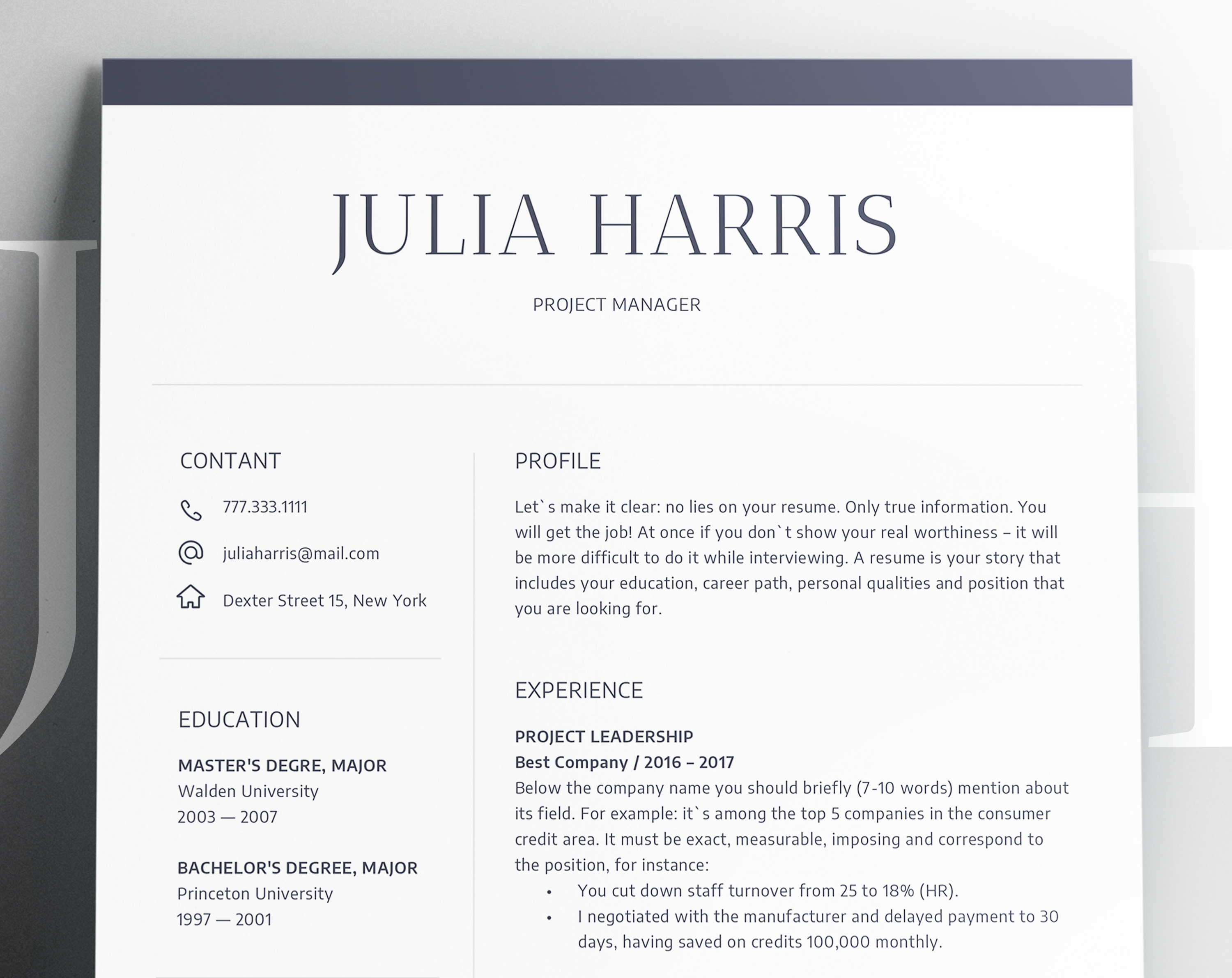 Word Resume Template 2007 Magnificent Modern Resume Template Cv Template  Cover Letter  Professional And .