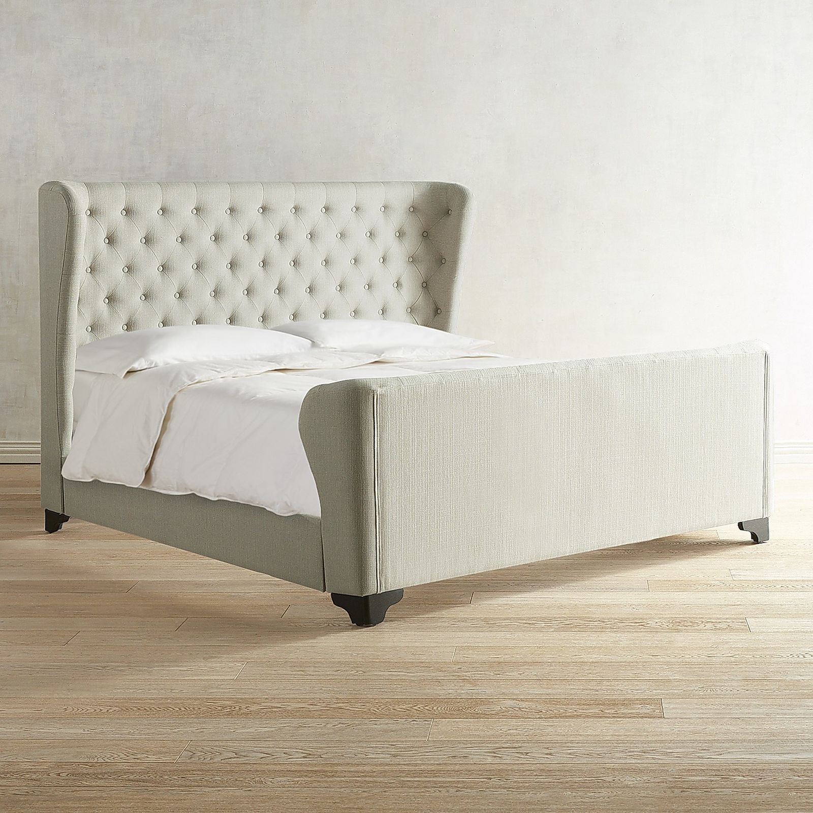 Tully Taupe Tufted Queen Bed