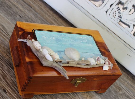 Mermaid Home Decor Vintage Cedar Jewelry Box One of a Kind