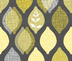 Fabric On It With Lemons | Amalfi Lemon Linen.Charcoal Fabric By Spellstone  On Spoonflower