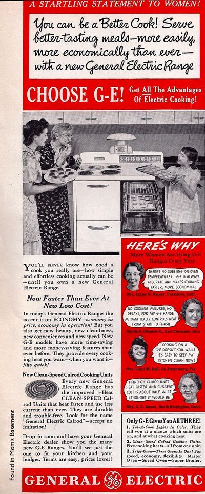 1940 GE | Advertisments  Old and New | Vintage kitchen appliances