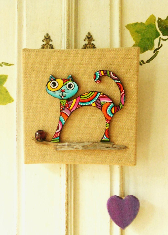 tableau du chat color papillon sur toile de jute for my daddy pinterest katzen. Black Bedroom Furniture Sets. Home Design Ideas