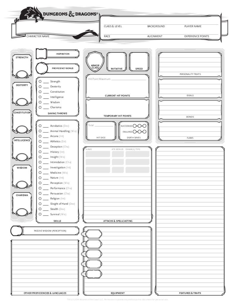 It is a picture of Impeccable D&d 5e Character Sheet Printable