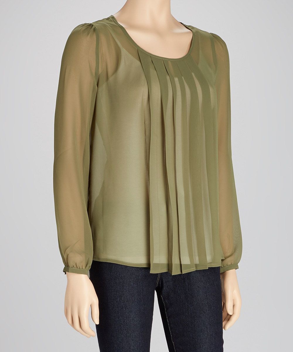 Loving this Michael Brandon Military Sheer Pleated Long-Sleeve Top on #zulily! #zulilyfinds