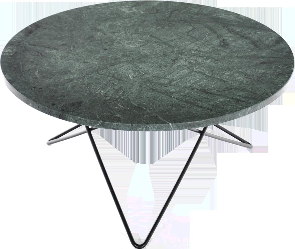 Soffbord O table, Svart stålunderrede, 80 cm H40 cm, Grön marmor Posh Living living room