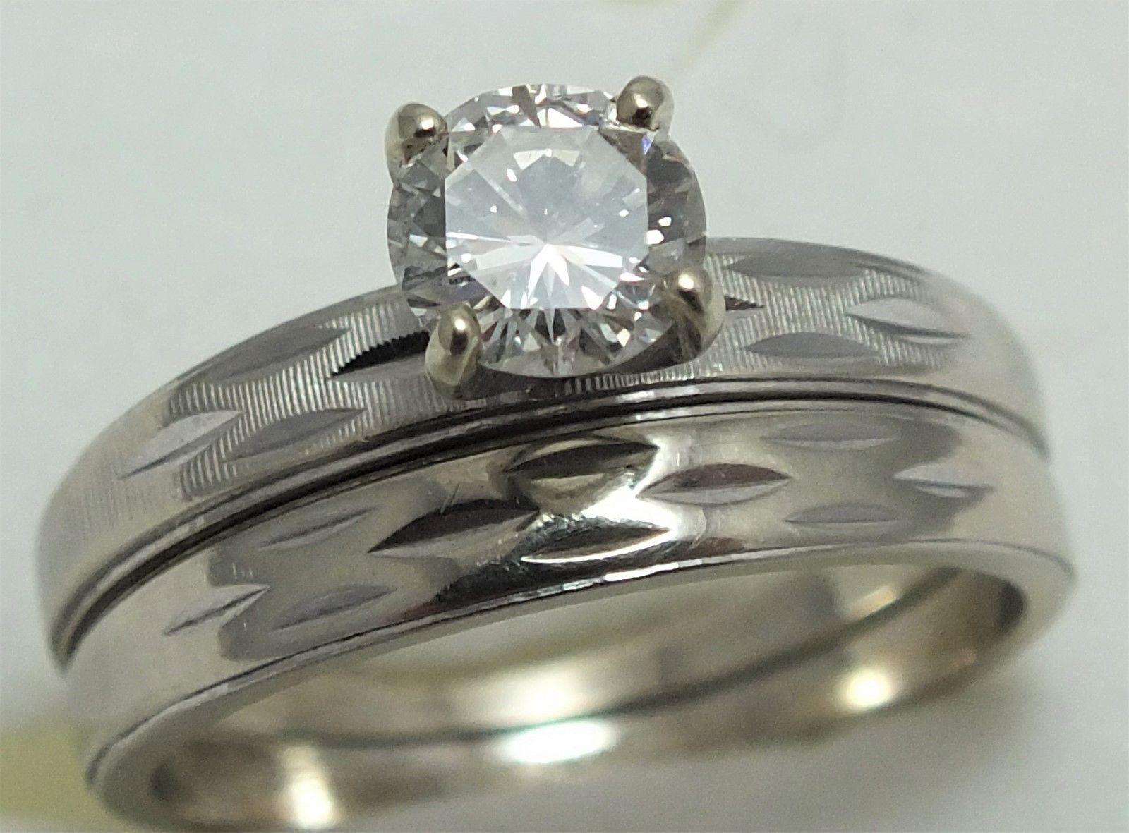 Ant VtgSE 14k White Gold 56ct Diamond Solitaire Wedding Ring Set