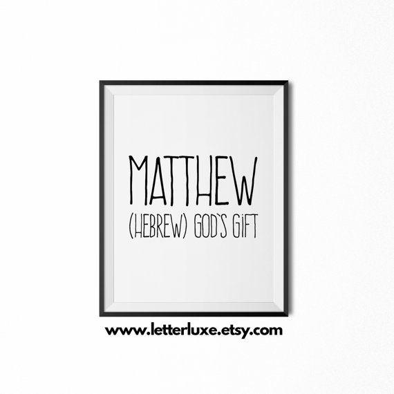 Matthew name meaning printable nursery art baby shower gift idea matthew name meaning printable nursery art baby shower gift idea inspirational typography art negle Gallery