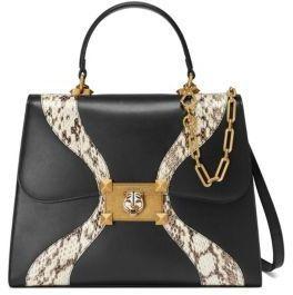 12deba28e5 Gucci Leather   Snakeskin Top Handle Bag. 3
