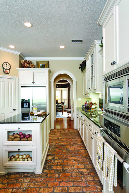 Rustic brick floor Love this kitchen Interior Design Ideas