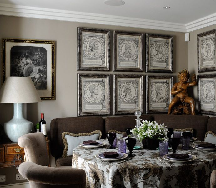 Cozy Dining Room/sofa Like Banquette, Round Dining Table, Antiques, Art  Prints
