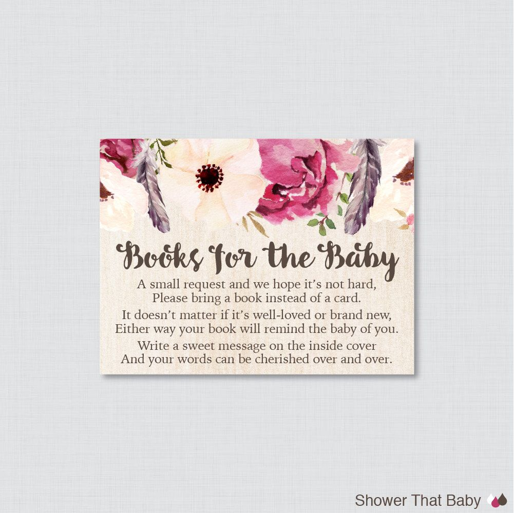 Boho Baby Shower Printable Bring A Book Instead Of A Card Invitation  Inserts   Bohemian Baby Shower Stock Babyu0027s Library Card Feathers 0043