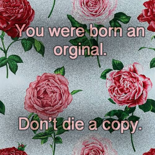 born an original (Yes the word is spelled wrong but the meaning is still clear.)