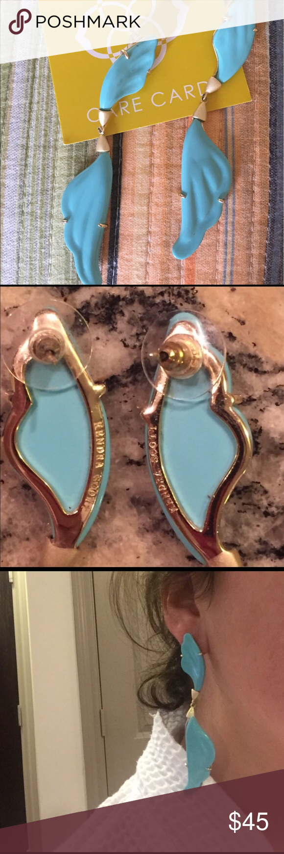 Kendra Scott angel wing earrings Turquoise and blue . Gold frame . This is  from her Atlantic collection. Hard to find ! Gently used a few times . EUC .
