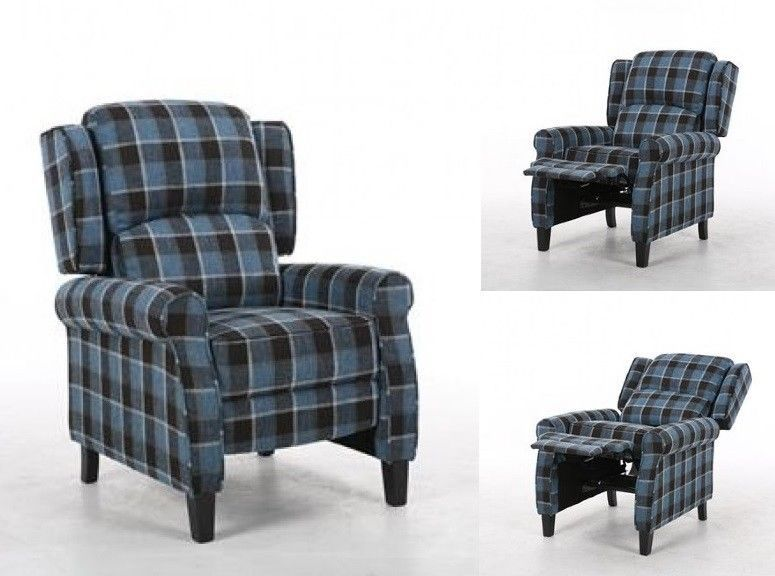 Wing Back Fireside Fabric Recliner Armchair Check Sofa Retro
